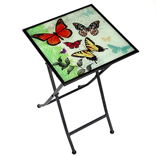 (CEDAR HOME Side Table Outdoor Garden Patio Metal Accent Desk with Square Hand Painted Glass,)