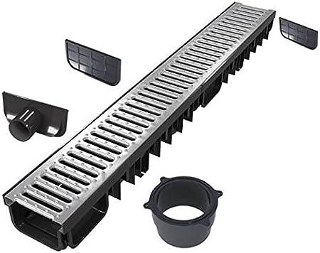 Kit caniveau 3 Mètres avec grille en inox   Evacuation Drainage Garage Terrasse