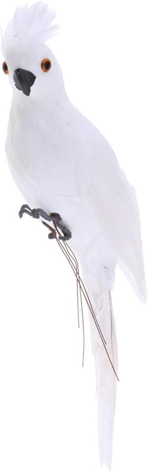 Blanc PETSOLA Perroquet R/éaliste Oiseau Ornement Artificielle d/écoration de Jardin