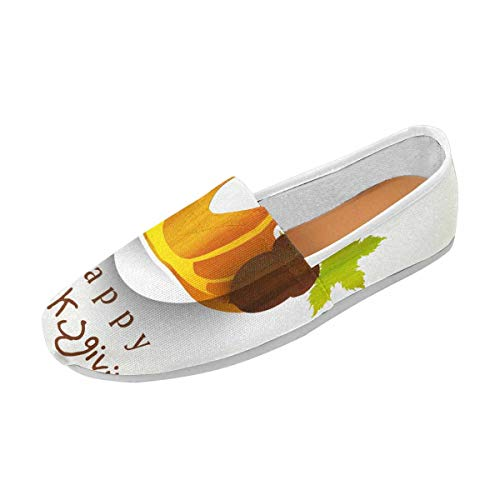 InterestPrint Women's Casual Loafers Canvas Flats Shoes Pumpkin, Acorn and Maple Leaves Shape US5.5