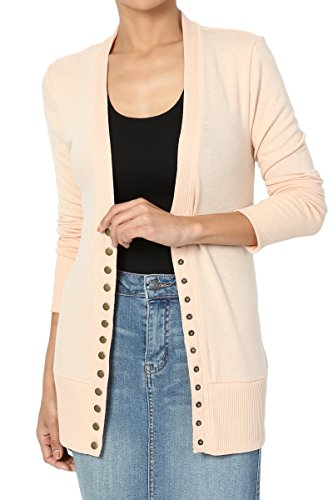 - TheMogan Women's Snap Button V-Neck Long Sleeve Knit Cardigan Sand XL