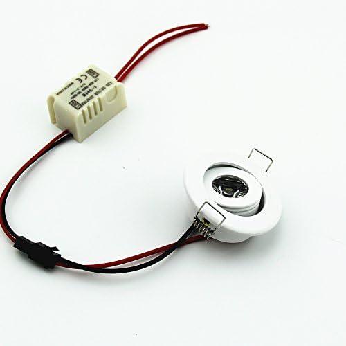 (Packung mit 10) 3W LED beleuchtet unten Kleine Einbau Runde Spot Lights Leuchten Warm White 3000K + Treiber