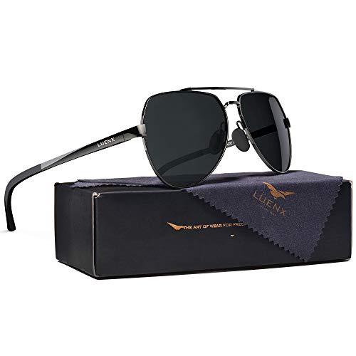 LUENX Men Aviator Polarized Sunglasses for Women Flexible Gunmetal Metal Frame Black lens - UV 400 Protection 63mm,Without zipper case