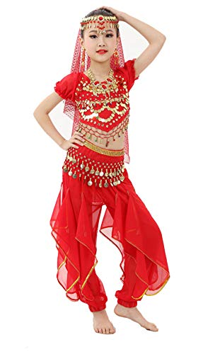 Gilrs Halloween Costume Set - Kids Belly Dance Halter Top Pants with Jewelry Accessory for Dress Up -