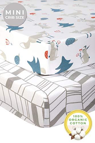 Pickle & Pumpkin Pack n Play Sheet | 2 Pack Mini Crib Sheet in 100% Organic Cotton | Playard Sheets Best for Pack n Play Mattress, Play Yard, Play Pen, Portable Crib | Chevron & Fox Mini Crib Sheets