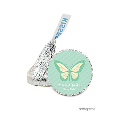 Andaz Press Personalized Chocolate Drop Labels Stickers, Wedding, Butterfly, 216-Pack, Custom Name, For Hershey's Kisses Party Favors, Gifts, Decorations - Butterfly Kisses Gift