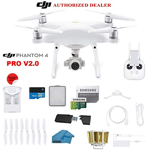 DJI Phantom 4 PRO Quadcopter Drone with 1-inch 20MP 4K Camera KIT with 32GB Micro SD Card, Universal Card Reader 3.0, Snap on Prop Guards, Charging Hub, Range Extender, Harness