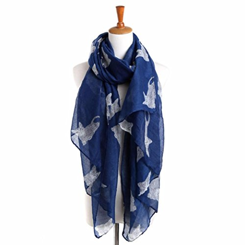 Scarf Shawl HCFKJ Ladies Lightweight Voile Evening Wrap Elegant Blanket Cat Print Long Scarf 90CMx180CM - Fair Erina Shops