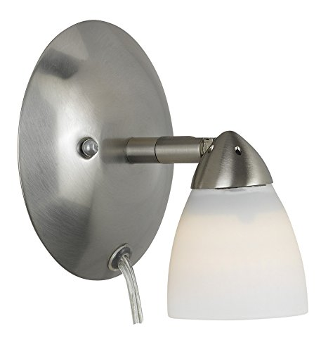 Cal Lighting SL-954-1-BS/WH Spot Light with White Glass Shades, Brushed Steel Finish
