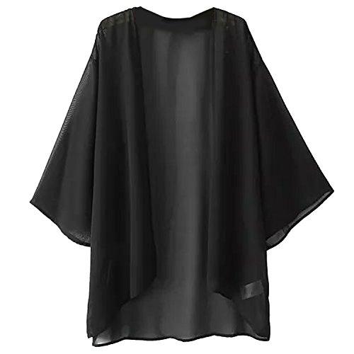 Escalier Women's Solid Light Loose Chiffon Sheer Kimono Cardigan Blouses