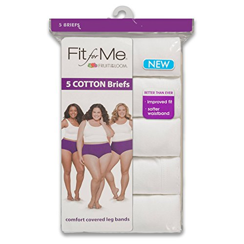 "Fruit of the Loom Women's Plus Size ""Fit For Me"" 5 Pack Heather Brief Panties (XXXXXX-Large / 13, White)"