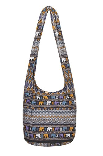 de nbsp;– hombro Gypsy nbsp;– bolsa Negro bolso nbsp;playa de algodón elefante de mano Sling Thai hippy viaje Azteca nbsp;100 bolsa Boho diseño qAU55