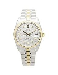 Tudor Men's Prince Date 34mm Steel Bracelet & Case Automatic Silver-Tone Dial Watch 74033-62473-10DI-SVCL