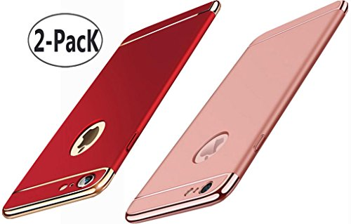 2Pack iPhone 6 /6S Plus 5.5 case, iBarbe Shockproof Scratch Protective Rubber Rugged Slim Hard Plastic 3 in 1 Case Cover (5.5 inches)-Red+rosegold