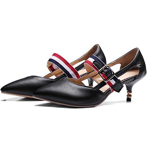 COOLCEPT Mujer Moda Ankle Strap Mary Janes Court Zapatos Cerrado Bombas Zapato Mini Tacon Zapatos Negro