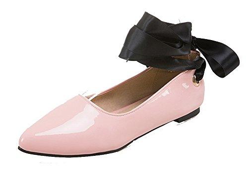 De Tsmdh004141 Cordón Zapatos Plano Mujeres Aalardom Microfibra Puntera Rosa Tacón Redonda wqA6BxP0