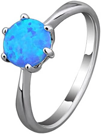 Women Solitaire Created Fire Opal Rings Rhodium Plated Round Shaped Party Club Simple Ring Jewelry Blue