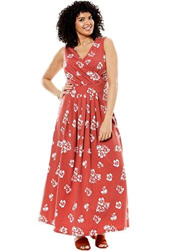 Women's Plus Size Stretch Knit Surplice Dress in Prints & Solids Clay Floral,2X Stretch Bodice