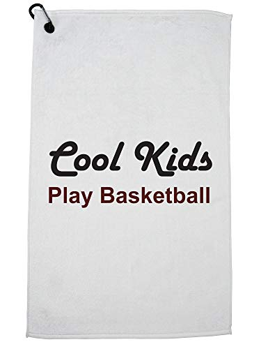 Hollywood Thread Cool Kids Play Basketball Trendy Golf Towel with Carabiner Clip by Hollywood Thread