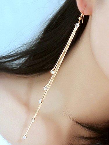 HJPRT korean fashion accessories diamond earrings earings dangler eardrop exaggerated long tassel ear jewelry ideas bride (golden five diamond
