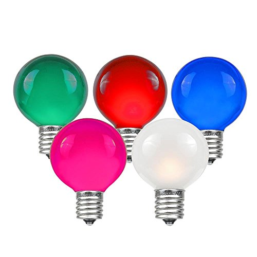 Novelty Lights 25 Pack G50 Outdoor Patio Globe Replacement Bulbs, Multi, E17/C9 Base, 7 Watt