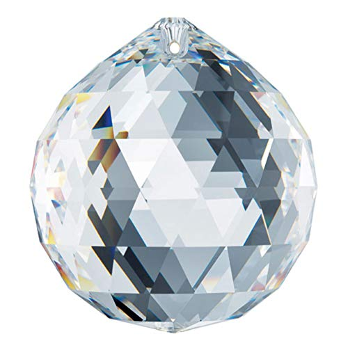 Swarovski crystal 60mm Clear Faceted Ball Prism, Amazing Shine & Brilliance, Strass Logo engrave, Pendant Prism, Chandelier Accent, Party Decoration, Made in ()