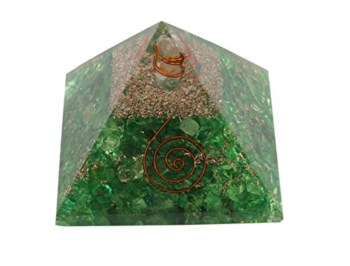 Aatm Reiki Energized Chakra Healing Green Aventurine Orgone Pyramid With Clear Crystal Gemstone/EMF Protection Meditation Yoga Energy Generator by Aatm Collection