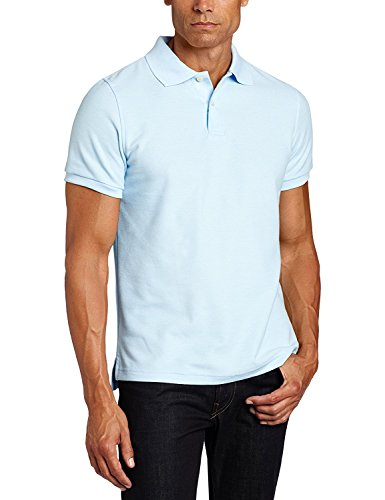 (Lee Uniforms Men's Modern Fit Short Sleeve Polo Shirt, Light Blue)