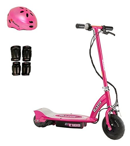 Razor E100 24V Electric Girls Scooter (Pink) with Helmet, Elbow & Knee Pads