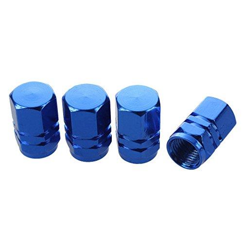 SODIAL(R) Auto Voiture Bleu Fonce Metal Pneu Vanne Couvertures Bouchons 4 Pcs on sale