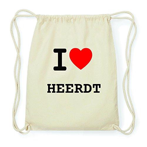 JOllify HEERDT Hipster Turnbeutel Tasche Rucksack aus Baumwolle - Farbe: natur Design: I love- Ich liebe