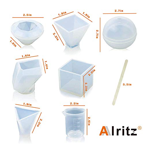 Resin Casting Molds, 6 Pack Large Clear Silicone Epoxy Resin