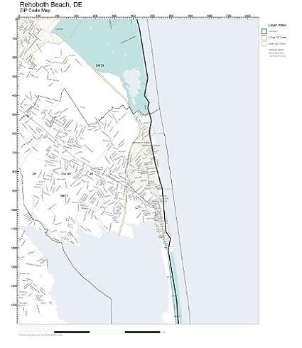 Amazon Com Zip Code Wall Map Of Rehoboth Beach De Zip Code Map