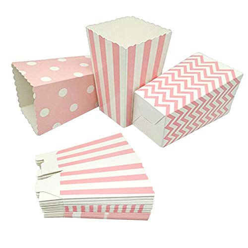 GAKA Pink Open-Top Popcorn Box Set of 36 Popcorn Favor Boxes Cardboard Candy Container Parties Mini Paper Popcorn Containers for Birthday Bridal and Baby Shower Fiesta Dessert Tables Wedding Party