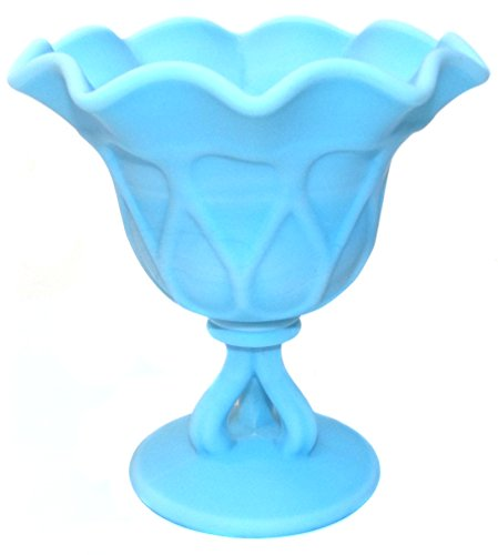 Vintage Westmoreland Light Blue Satin Slag Glass Doric Pattern Art Glass Compote (Slag Art)