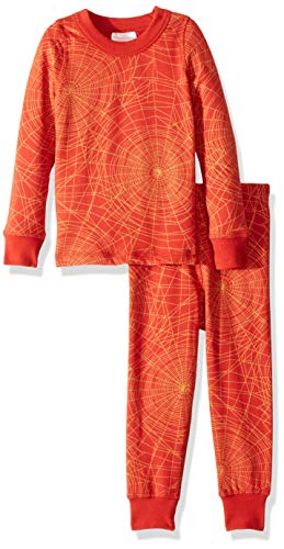 Masala Kids Girls' Little Organic Kids PJs L/S Golden Web Brick Red, 2 Years