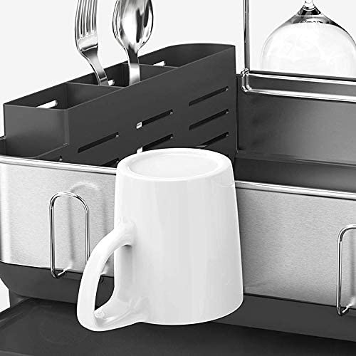 simplehuman Steel Frame Kitchen Drying Swivel Spout, Fingerprint-Proof Dish Rack, Grey Plastic