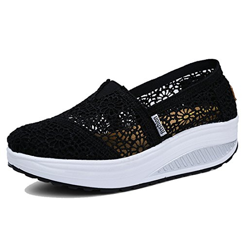Wedge Sole Pull - Women's Mesh Platform Walking Shoes Lightweight Slip-on Fitness Work Out Sneaker Shoes (7.5 B(M) US, Black1)