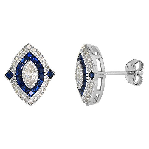 - Sterling Silver Art Deco Stud Earrings Marquise CZ 6mm Synthetic Square Blue Sapphires 9/16 inch