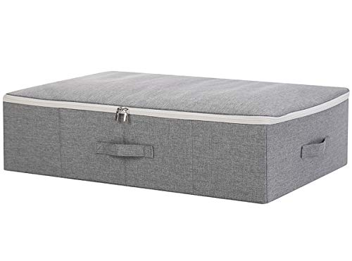 Three-Side Zipper Cover Basket, Collapsible Under-Bed Storage Box for Blankets,Duvets, Comforters etc. Dark Gray, 1pcs