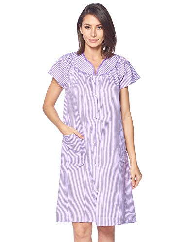Casual Nights Women's Snap Front House Dress Short Sleeve Woven Duster Housecoat Lounger Robe, Striped Purple, XX-Large