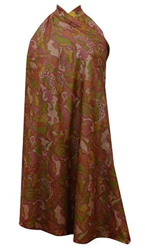 Indianbeautifulart Rversible Femmes Wrap Maxi Pure Silk Robe Courte Hippie Brown & Rust Orange