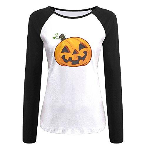 Creamfly Womens Halloween Pumpkin Long Sleeve Raglan Baseball Tshirt M -