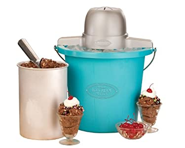 Nostalgia ICMP400BLUE Vintage Collection 4-Quart Electric Ice Cream Maker, Ice cream makerworks fast!!!