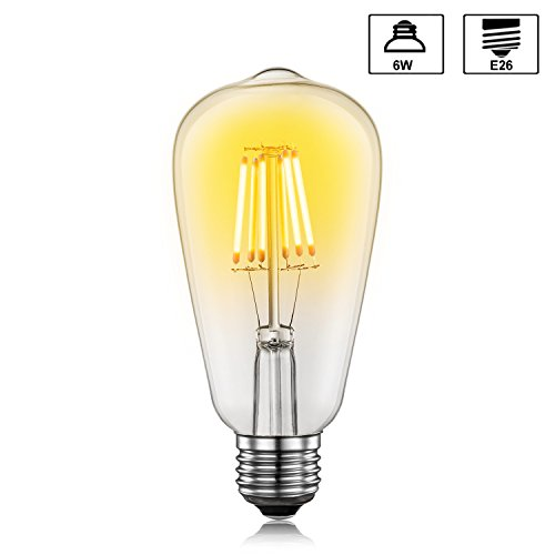 Apsung Edison LED Bulb, ST64 Vintage Light Antique Style, 30000 Hours Lifetime, Crystal Clear Warm White Lighting, 6W - 60W Equivalent, E26 Medium Base Lamp - Pack of 1