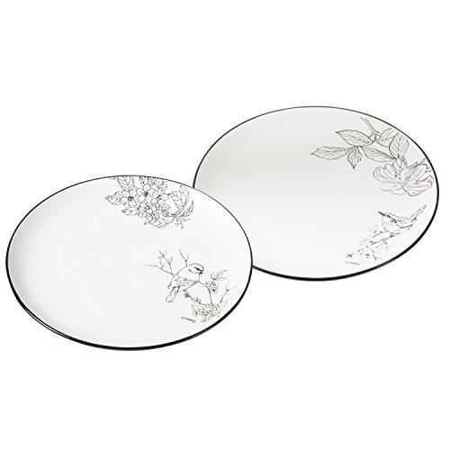 (Cypress Home Sketchbook Bird Ceramic Salad Plates, Set of 2)