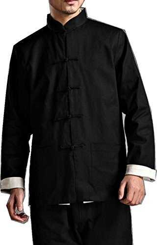 ZooBoo Kung Fu Jacket Both Sides Wear Tops Martial Arts Long Jersey (M, Black with Beige)