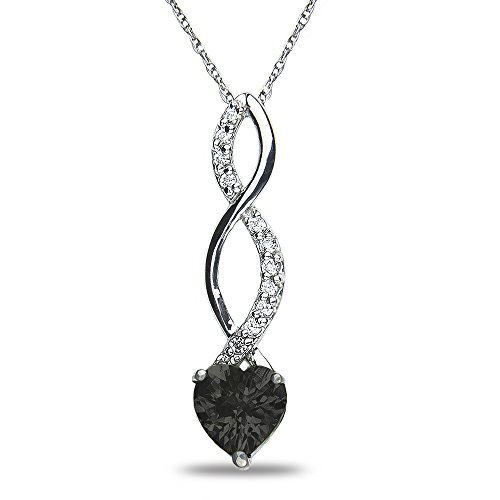.05CT Diamond Onyx Pendant in 10k White Gold by Nissoni Jewelry