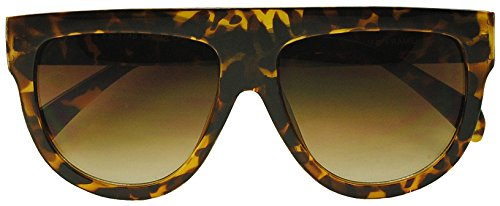 SunglassUP Super Flat Top Round Tear Drop Aviator Future Thick Boyfriend Sunglasses (Tortoise, - K Kim Sunglasses Style