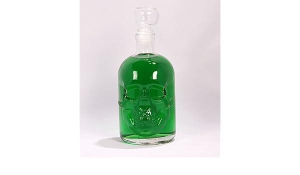 Absinthe 55% vol 0,5 litro botella con Calavera- de VIDRIO tapón de corcho, Resurrección de una leyenda en Absinthe botella de vidrio de 500 ml de Shapely ...